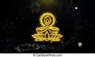Deepak Diya Lamp Written Gold Particles Exploding Fireworks Display