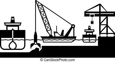 deepens, barco, puerto, draga