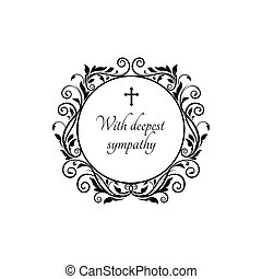 Deepest sympathy round frame, cross and flowers