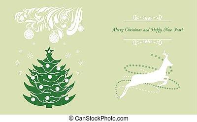 deer., árvore, natal, fundo