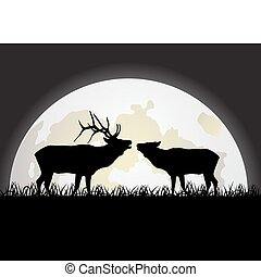 Deer against the Moon - The image of enamoured deer against...