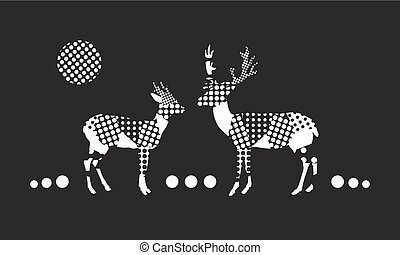 deer and doe in love in the forest