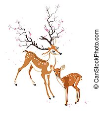 Deer and fawn - Imaginary deer and fawn in spring