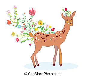 Deer and flower spring background cute design