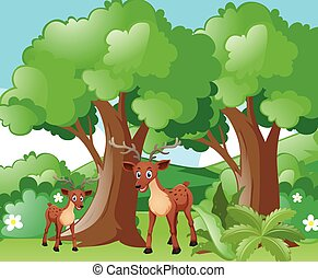 Deer and little fawn in forest