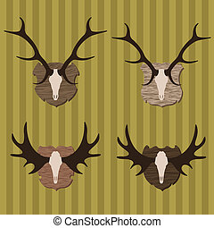 Deer and moose horns hunting trophy illustration collection...