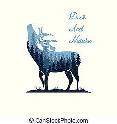 deer and nature illustration designs