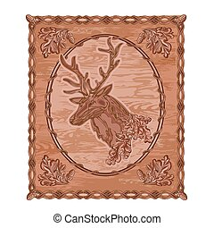 Deer and oak leaves and acorns woodcarving hunting theme ...