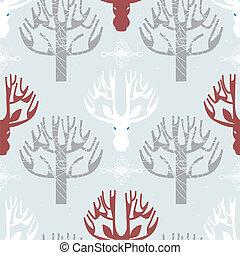 Deer and trees print - Image of deer and trees print in...