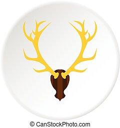 Deer antler icon circle