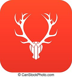 Deer antler icon digital red