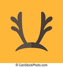 Deer Antlers Christmas Flat Icon - Illustration of Deer...