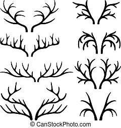 Deer antlers black silhouettes set vector isolated on white...