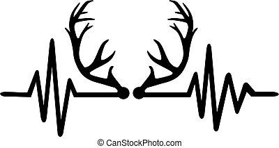 Deer antlers heartbeat line - Heartbeat pulse with deer...