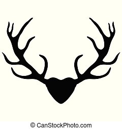 Deer antlers, silhouette isolated on white