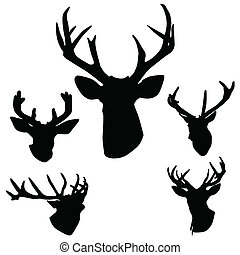 deer antlers silhouette art vector illustration on white