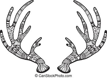 Deer antlers with native ornament