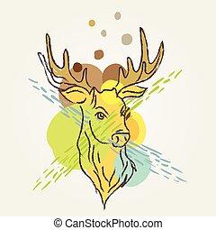 Deer Art colorful