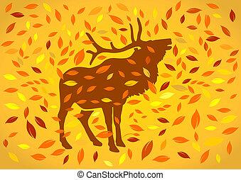 deer at autumnal
