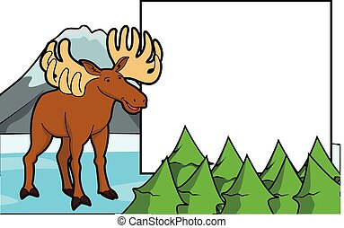 deer at ice mountain scene with