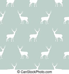 Deer blue and white simple seamless vector pattern.