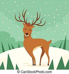 Deer Cartoon Animal Reindeer Winter Forest