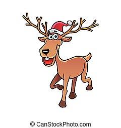 deer character with santa hat