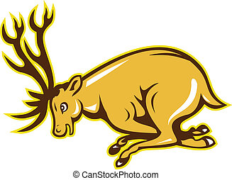Deer Charging Side Cartoon - Illustration of a stag deer ...