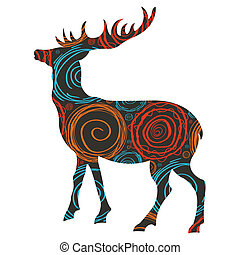Deer Christmas vector background