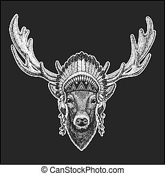 Deer Cool animal wearing native american indian headdress with feathers Boho chic style Hand drawn image for tattoo, emblem, badge, logo, patch