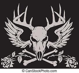 Deer Crossbones - A stony, deer crossbones with wings and...