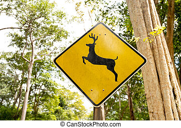 Deer Crossing warning sign in country road with tourist car on the road.