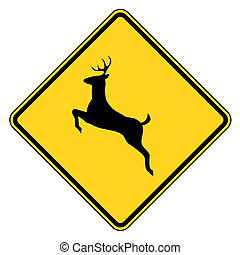 Deer crossing warning sign
