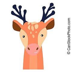 Deer cute animal baby face vector illustration. Hand drawn style nursery character. Scandinavian funny kid design