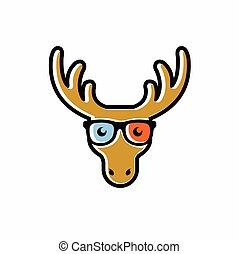 Deer cute mascot logo, head of deer
