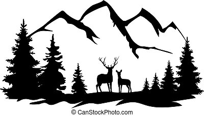 deer doe - vector wilderness with forest, mountains, deer ...