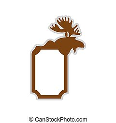 Deer emblem. Moose logo. Animal with horns. Wild animal