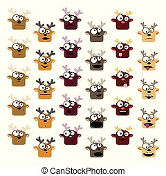 Deer emoticons set
