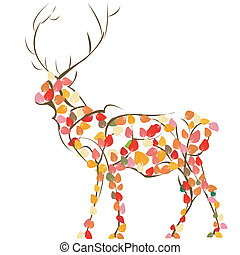 Deer - Stylized deer silhouette, vector art