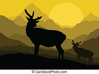 Deer family couple silhouettes in wild mountain nature landscape background illustration vector