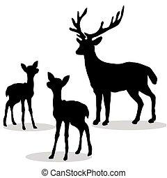 Deer family silhouette black on white background. Vector...