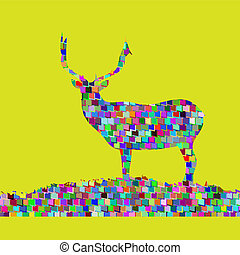 deer fine vector silhouette mosaic Colorful