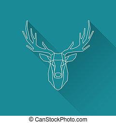 deer frame invert - polygonal illustration of deer,...
