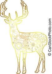 Deer golden isolated