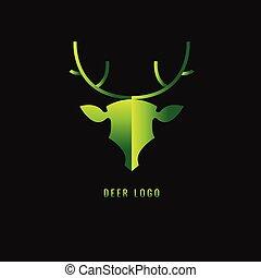 Deer Gradient green on a dark background. logo. symbol. vector