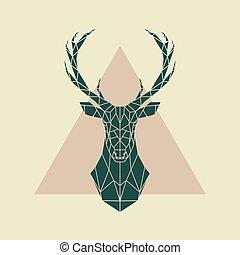 Deer green geometric sign .