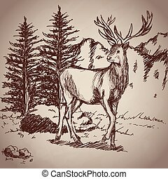 deer hand drawing landscape vintage