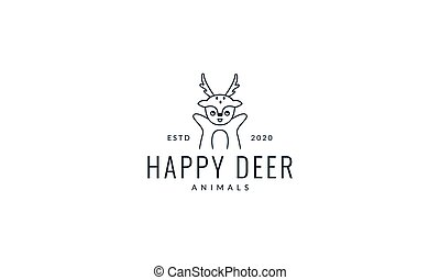 deer hand up line cute cartoon logo vector  illustration