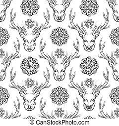 Deer head and flowers seamless pattern