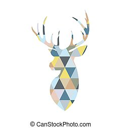 Deer head formed by triangular multicolored shapes....